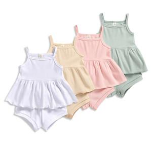 Bebés Meninas Outfits Solid 4 cores Sling Ruffle Vest infantil mangas Sling Tops crianças elasticidade arco Shorts da criança lazer Roupa 3-18M 060728