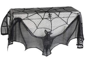 Cadılar Bayramı Siyah Dantel Perde Şömine Bezi Siyah Dantel Bat Örümcek Mesh Kapak Soba Tablecloth Perde Ev Dekorasyon Şarap Mahzeni Bezi