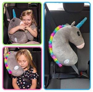 مقعد السيارة حزام الغلاف يونيكورن القطيفة أطفال الأطفال وسادة الكتف وسادات السلامة المتمركزة الحشو الخصر وسادة التصميم القطيفة لعبة MX200716