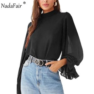 Nadafair Lantern Sleeve Chiffon Blouse Woman Plus Size Transprent Office Work Elegant Black Womens Tops And Blouse