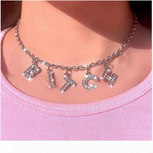 Harajuku Letter Crystal Angel Necklace Women Jewelry Couple Gift Necklace BABY HONEY Choker Punk Drop Ship