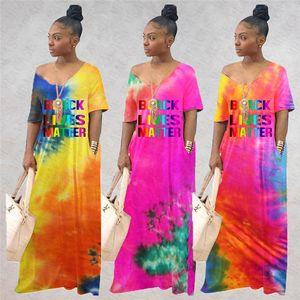 Mujeres Negras Vidas Materia suelta Vestido largo Tie Dye Gradient Color Oversize Maxi Vestidos de manga corta General Ropa de playa Bikinis Cover D71404