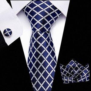 Бесплатная доставка мужские галстуки Paisley синий шелковый галстук с Hanky Tie Set Запонки Промишленое жаккардовые тканая шеи RTZq #