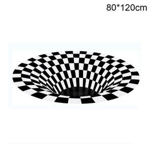 Home Decoration Wohnzimmer Flur Teppiche Schwarz Weiß Grid Drucken 3D Illusion Vortex Loch ohne Boden Boden Teppichboden rutschfeste Matten