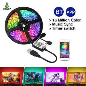 TV LED TRIGHT STRIP DC5V SMD5050 1M 2M 3M 4M 5 M Cable USB Potencia flexible RGB TV TV Bluetooth TV Fondo Iluminación