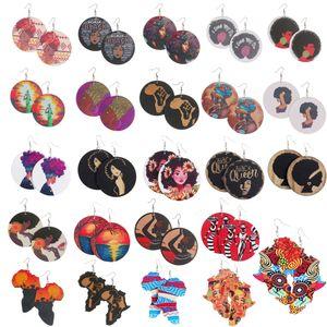 나무 귀걸이 인쇄 아프리카 헤드 화려한 귀고리 목재 라운드 매력 후프 귀걸이 여성용 레이디 쥬얼리 아프리카 새로운 도착