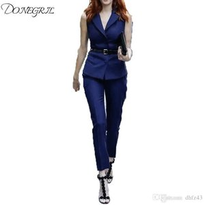 2018 Summer Style Fashion Women's Two Piece Clothes Set EleTurn Down Collar Vest Blazer and Pants Suit Set Office Outfit