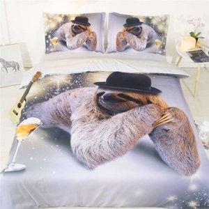 tira preguiça jogos de cama Consolador conjunto de cama queen size 3d animais / duvet tamanho tampa dupla para crianças rei casa acessórios de decoração