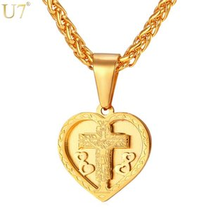 U7 New Heart Necklace Love Of the Jesus Trendy Gold Color Stainless Steel Cross Pendant Christian Jewelry P908