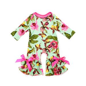 Новая осень Rompers младенца 0-3T девушки Цветочные печати комбинезон с длинным рукавом Детские теплые Комбинезоны 29+ Designs шелк молока младенца весна осень костюмы