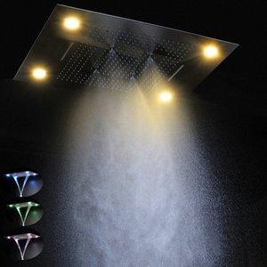 Современные 600 * Душевые 800мм LED распылительная головка дистанционного управления цвет водить 304 стали дождь из нержавеющей туман водопад R5uL #