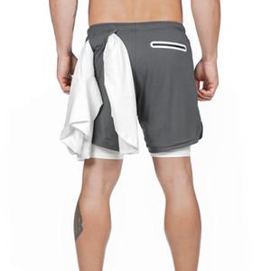 2020 Sommermens Schnell trocknend Sport Shorts beiläufige Breathable Tarnung Double Layer Drucken Jogging Fitness Gym Shorts Plus Size