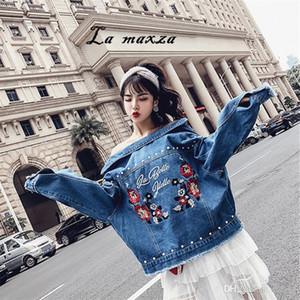 Plus Size 5XL Women Winter Denim Jacket and Coat Embroidery Bomber Crop Loose Jeans Women Jackets 2018