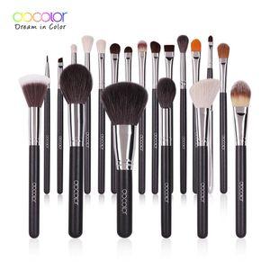 Docolor 20PCS Professional Make up Brushes Powder Foundation Eyeshadow MakeUp Brushes Set Natural Goat Hair Cosmetics Brush Set 201008