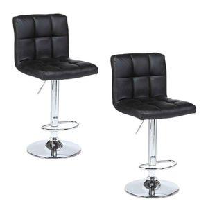 Modern Design Set of 2 Bar Stools Leather Adjustable Swivel Pub Chair Black