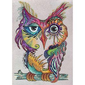 Color Owl Full Drill 5D Diamond Round Rhinestone Embroidery Painting DIY Cross Stitch Kit Mosaic Draw Home Decor Art Craft Gift