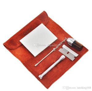 Um conjunto (6pics) Snuff tubulação Pó Garrafa Sniffer Box Tubo Bag Kit Colher portátil de alta Viagem Qualidade Define Fácil de colocar em seu bolso