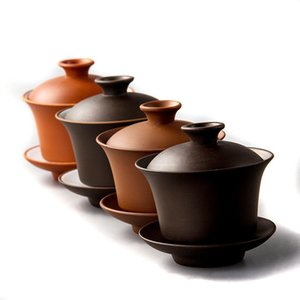 2020 1pcs Chinese Teaset Elegant Gaiwan Tea Cups Purple Clay Tureen 120ml Lid Bowl Saucer Zisha Tea Brew Tea Cup wholesale