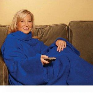 Warm Fleece Blanket Soft Wearable Blanket Sleeves TV Sofa Blanket Winter Warm Throw Blankets Coral Fleece Blankets 6 Colors Blankets YFA257