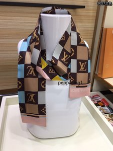 Classic fashion luxury 100% silk scarf for best quality monogram style 2colors design silk hair bag scarf girl bow tie headband scarves hyfh