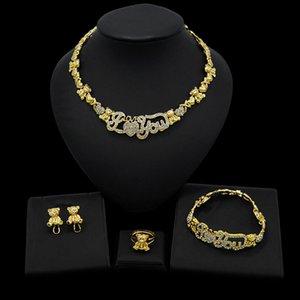 Yulaili Toptan Kalbinin Kadınlar Mücevher Kümesi için 18K altın kaplama Takı Setleri Kolye Küpe Bileklik Yüzük şeklinde seviyorum