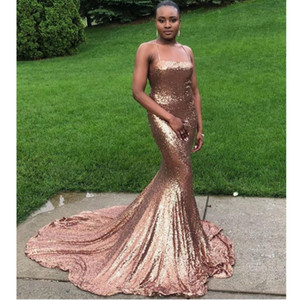 Black Girls Rose Gold Sequined Bridesmaid Dresses Long Mermaid Plus Size Weddng Party Dress Maid Of The Honor Dress Arabic Formal Gowns