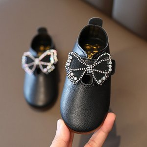 Girl Butterfly Buckle Shoes Kids Fashion Mary Jane Shoes 2020 Autumn New Baby Non-slip Plat Princess Dresses Shoe Size 21-30 #y-F3