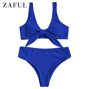 Zaful Solid Color Padded Front Knot Bikini Set T200713