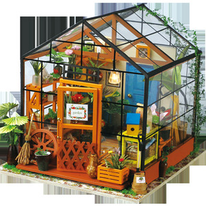 Miniature Estúdio Crianças Adulto de Robotime Diy Ada Wooden Doll House Com Mobiliário modelo de construção Dollhouse Brinquedos Dg103 Y19070503