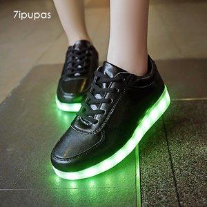 7ipupas Light up conduit baskets chaussure noir garçon conduit deux Schoenen enfant Casual Homme Chaussures Melbourne Shuffle lumineux de CX200724
