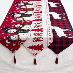 Ноэль Рождество стол украшения Вышитые Рождественская елка Elk Таблица Runners Natal украшения Navidad Новый год Декор Для дома hO5J #
