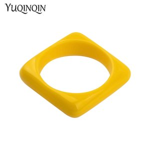 Classic Acrylic Cuff Fashion Bracelets Bangles for Women Geometric Yellow Resin Vintage Simple Charm Bracelets New Jewelry