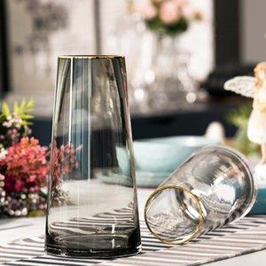 Nordic glass vase ornaments T type home decoration Crafts Gray glass terrarium flower vases centerpieces for weddings decor T200703
