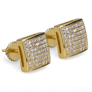 S Mens 3d Xl Large Cz Micro Pave Bling Bling Earrings Square Curved Screen Block Screw Back Stud Earring Hip Hop Jewelry