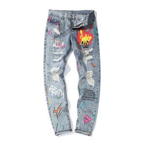 MORUANCLE Mens Hi Via Destroyed Jeans Pantaloni Moda Grattifi denim strappati i pantaloni con fori stampato Torn Jeans Streetwear