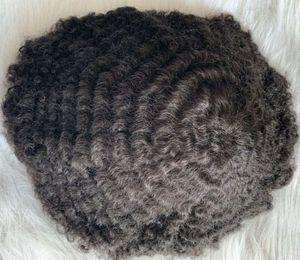 8mm Afro Wave Toupee Full PU TOUPEEE 10mm pizzo con la parrucca da uomo PU 10A unità di capelli umani indiani vergine per gli uomini spedizione gratuita