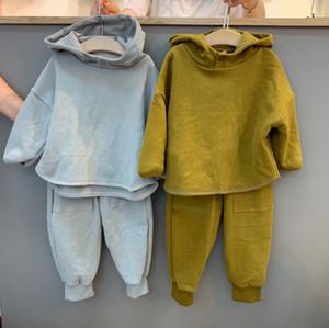 JK Kore Stili Kalite INS Yeni Küçük Kızlar Kıyafetler Saf Pamuk Şık Moda Kapüşonlular + Pantolon 2pieces Suits Çocuk Giyim Setleri