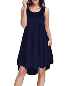 KILIG delle donne senza maniche Tasche casuale allentato swing Flare Dress Junior cocktail del vestito da estate del vestito OdbI #