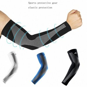 2PCS Sport Arm рукава Ice Ткань UV ВС Защита Anti-Slip Баскетбол Armband татуировки крышки Велоспорт Бег Прохладный Открытый манжета dTll #