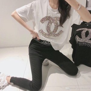 Spring 2020 new web celebrity with the same heavy industry set diamond loose T-shirt women round collar pure cotton port wind