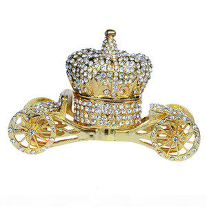 Crown carriage wedding favor bejeweled faberge Trinket jewelry Box unique vintage decor creative gift