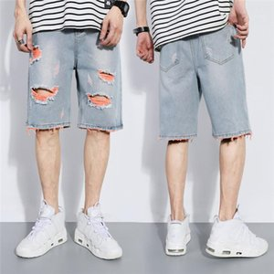 Soltos Hetero Buraco curto verão skate Moda Masculina Buraco Demin Shorts Plus Size Mens Demin Shorts Casual