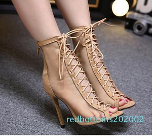 2017 meshy breathable lace up sheos sexy women high heels peep toe ankle bootie beige black size 35 to 40 r02