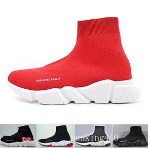 Designers Sneakers Speed Trainer Black Red Gypsophila Triple Black Fashion Flat Sock Boots Casual Shoes Speed Trainer Runner With Dust Bag K