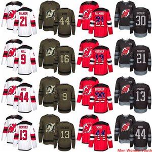 Donne Uomini personalizzato New Jersey Devils Gioventù AD Taylor Hall 13 Nico Hischier 21 Kyle Palmieri 44 Miles legno P.K. Subban USA Flag hokey Jersey
