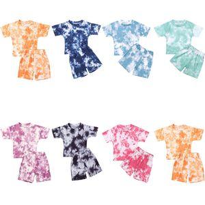 Infantile pour bébé filles Tie-dye Vêtements imprimés Ensembles pour 1-5Y été à manches courtes Imprimer Garçon T-shirts Hauts + Shorts Pantalons Costumes Enfants Boy