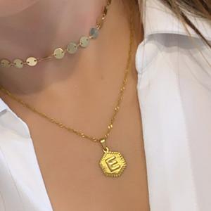 Trendy Alfabe Sermaye E Harf Kolye Kolye için Kadınlar Altın Renk Paslanmaz Çelik İlk Mektup S Salkım Jewerly Hediye