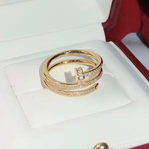 925 marcas de plata calientes de tornillo uñas de moda anillos de oro de las mujeres del envío del punk de joyería de calidad superior el mejor regalo del anillo del círculo de tres