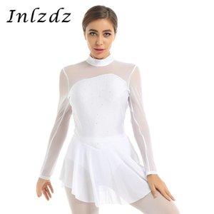 무대 착용 여성 발레 댄스 레오타드 의상 반짝이 모조 다이아몬드 얇은 메쉬 열쇠 구멍 뒤로 개방 그림 아이스 스케이팅 롤러 드레스