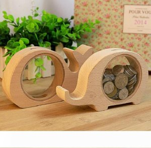 DHL Wooden Animal Money Saving Storage Box Gifts for Kids Elephant Piggy Banks Pig Whale Hippo Money Piggy Bank Party Favor nn